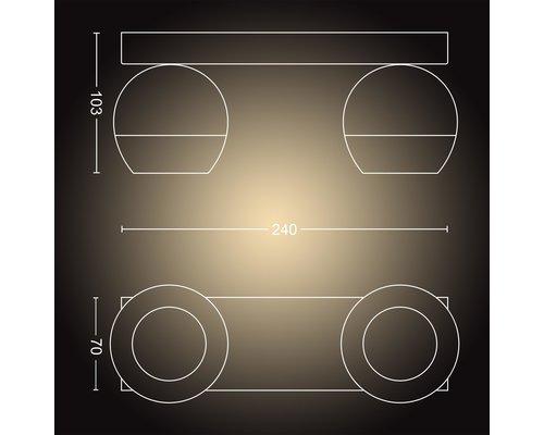 Philips Hue Hue Buckram BT opbouwspot & switch LED GU10 2x5W zwart