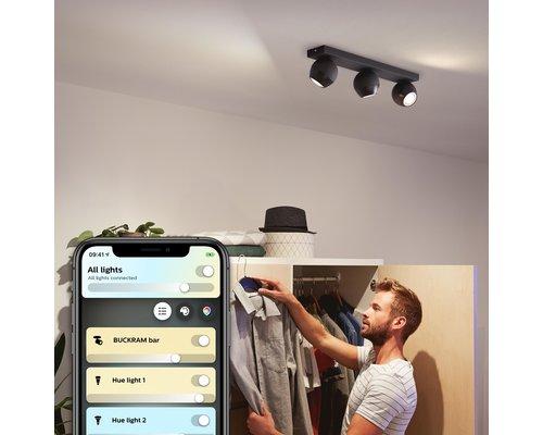 Philips Hue Hue Buckram BT opbouwspot & switch LED GU10 3x5W zwart