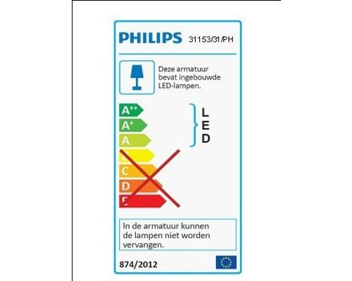 Philips Hue HUE Phoenix wandlamp LED 1x9W/3155lm wit