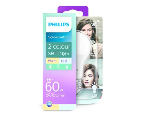 Philips LED lamp E27 60W 2700K/4000K 806lm Scene Switch Dimmable