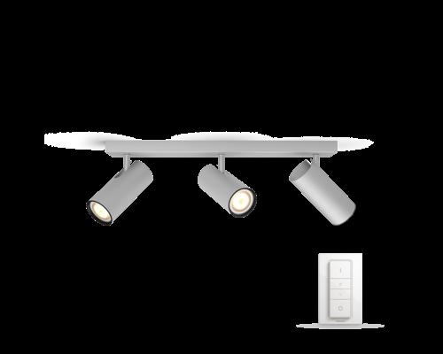 Philips Hue HUE Buratto White Ambiance LED en saillie 3x5.5W 250lm + interrupteur en aluminium