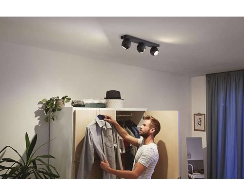 Philips Hue HUE Buckram White Ambiance spot apparent LED 3x5,5W 250lm + switch noir