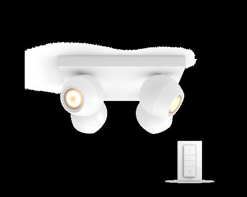 Philips Hue Buckram White Ambiance LED en saillie 4x5,5W 250lm + interrupteur blanc