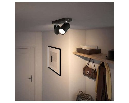 Philips Kosipo opbouwspot zwart 2-lichts