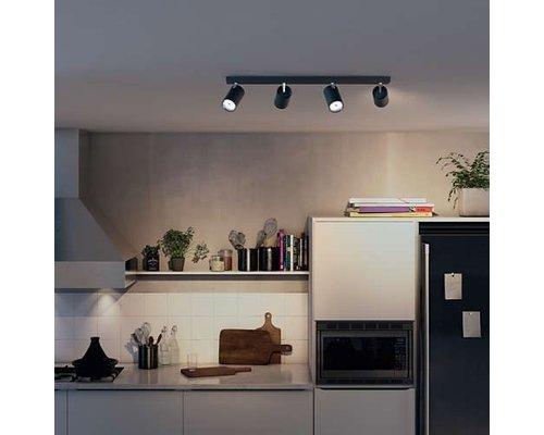 Philips Kosipo opbouwspot zwart 4-lichts