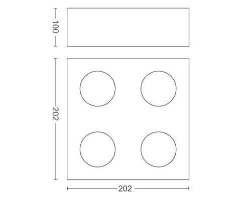 Philips Box opbouwspot zwart 4-lichts