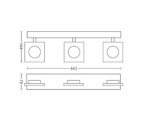 Philips Golygon opbouwspot mat chroom 3-lichts