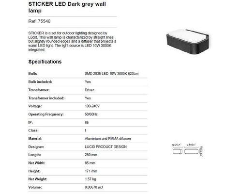 Light Gallery Sticker wandlamp grijs
