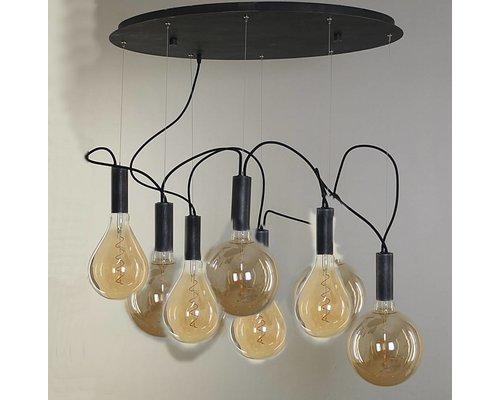Light Gallery New alambo hanglamp zwart 8-licht
