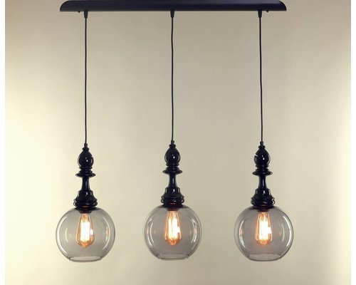 Light Gallery Alfiere shiny hanglamp zwart 3-licht lijn