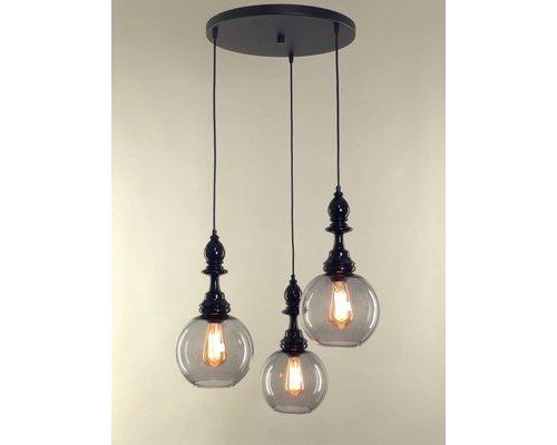 Light Gallery Alfiere shiny hanglamp zwart 3-licht
