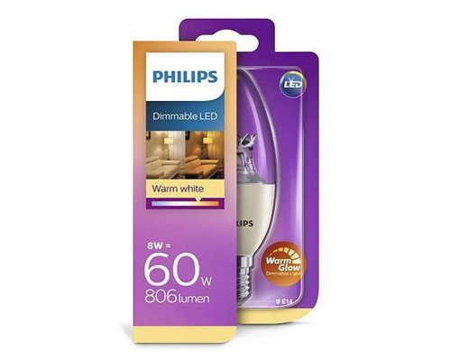 Philips LED lamp E14 60W 806lm Warm Glow Dimmable