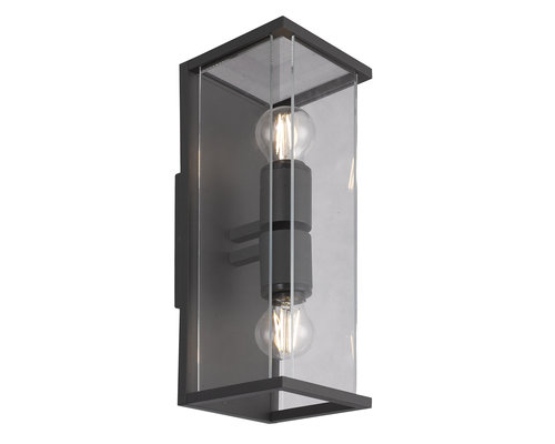 Light Gallery Meribel wandlamp breed 2xE27 donkergrijs