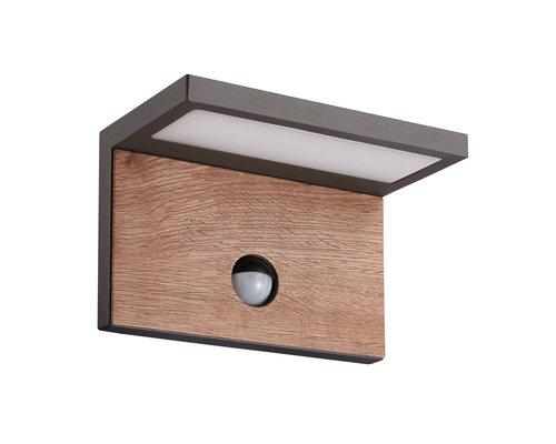 Light Gallery Ruka wandlamp IP54 980lm sensor antraciet hout