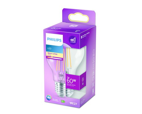 Philips LED classic E27 60W 806lm 2700K lamp transparant