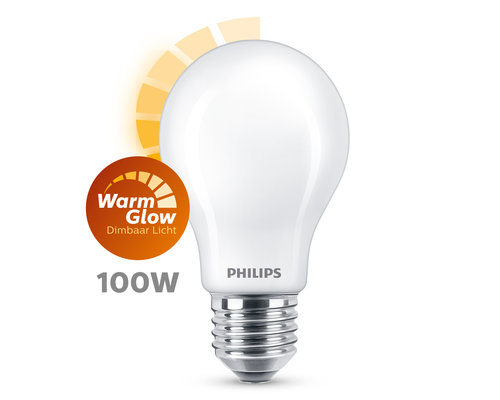 Philips LED classic E27 100W 1521lm warmglow lamp frosted