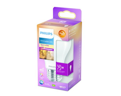 Philips LED classic E27 75W 1055lm warmglow lamp frosted