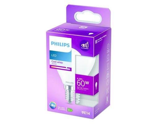 Philips LED classic E14 60W 806lm 4000K kogel frosted