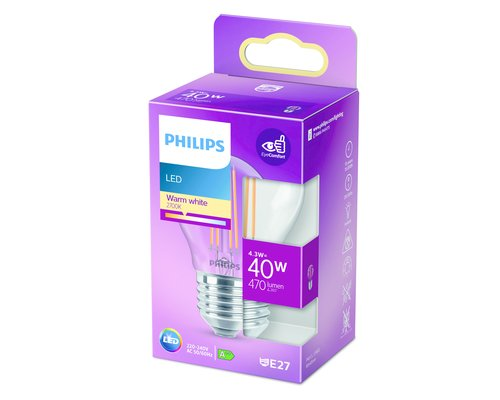 Philips LED classic lamp E27 40W 470lm 2700K kogel transparant