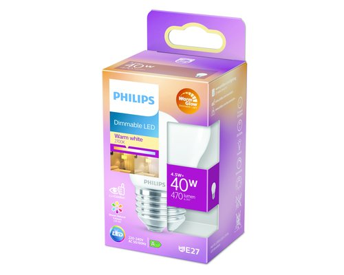 Philips LED classic E27 40W 470lm warmglow kogel frosted
