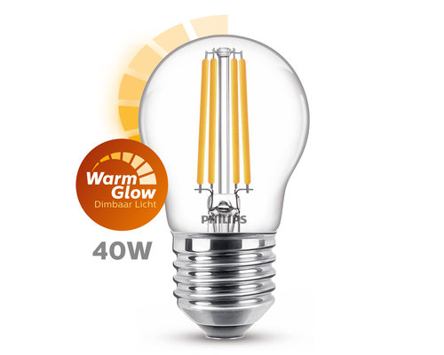 Philips LED classic E27 40W 470lm warmglow kogel transparant