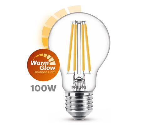 Philips LED classic E27 100W 1521lm dim lamp transparant