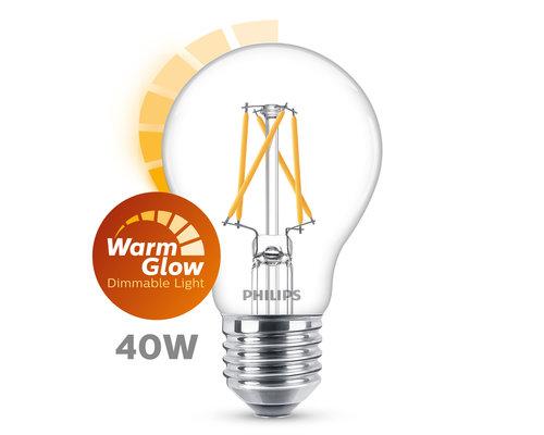 Philips LED classic E27 40W 470lm warmglow lamp transparant