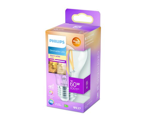 Philips LED classic E27 60W 806lm warmglow lamp transparant