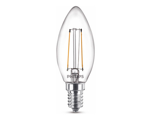 Philips LED classic E14 15W 136lm 2700K kaars transparant