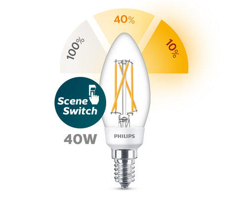 Philips LED classic E14 SSW sceneswitch lamp transparant