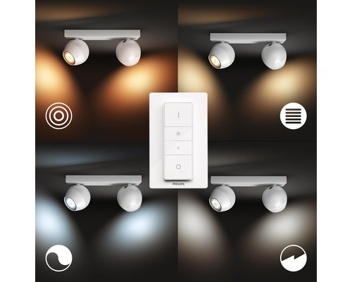Philips Hue Hue Buckram BT Spot et interrupteur en saillie LED GU10 2x5W blanc