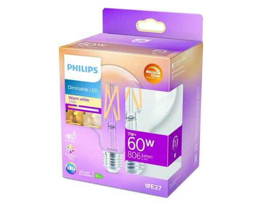 Philips LED classic E27 60W 806lm globe transparant