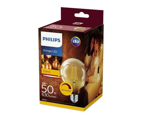 Philips Deco LED lamp E27 50W 2200K 630lm goud dimbaar