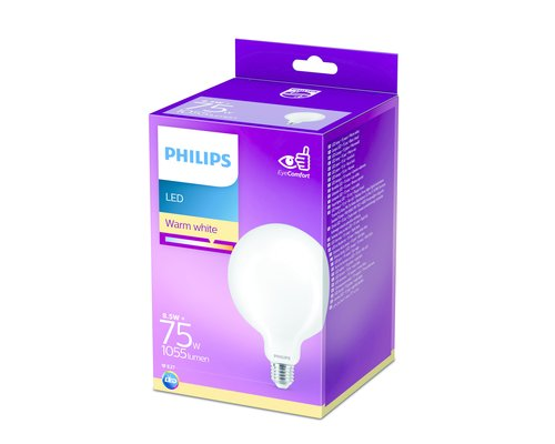 Philips LED classic E27 75W 1055lm 2700K globe frosted