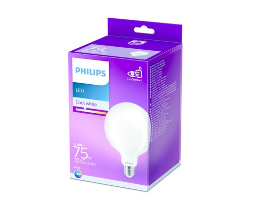 Philips LED classic E27 75W 1055lm 4000K globe frosted