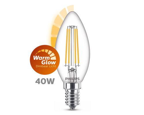 Philips LED classic E27 40W 470lm warmglow kaars transparant