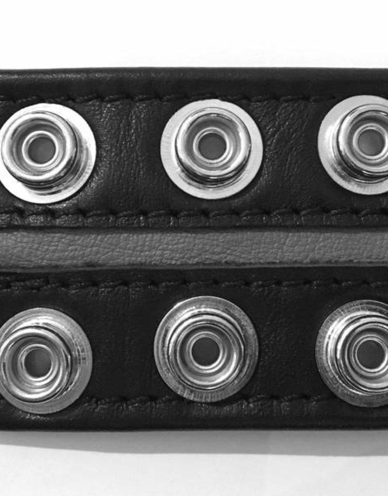 RoB Leren Bicepsband 50 mm breed zwart/grijs met drukknopen