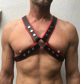 RoB 4-Strap Harness schwarz mit roten Piping