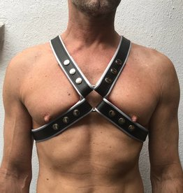 RoB 4-Strap Harness black with white piping