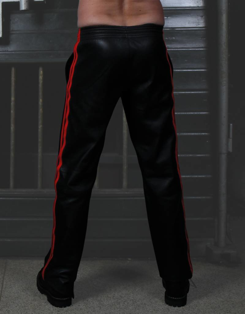 RoB Soft Leather Black Trackpants with Red Stripes