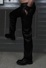 RoB Soft Leather Black Trackpants with Black Stripes