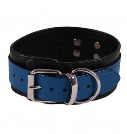 RoB Leren Slavenhalsband blauw op zwart