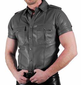 RoB Police Shirt Zacht Leer Grijs