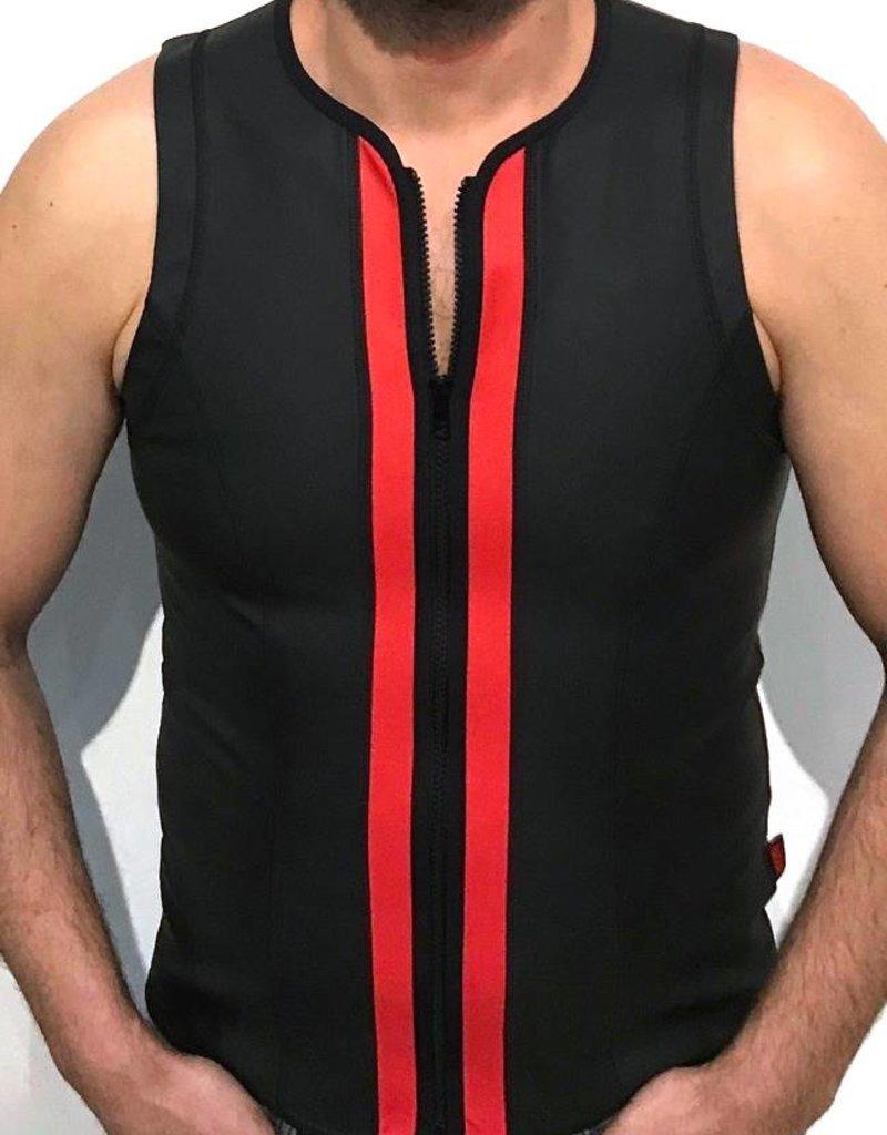 RoB F-Wear vest met rits zwart met rode strepen
