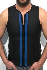 RoB F-Wear vest met rits zwart met blauwe strepen
