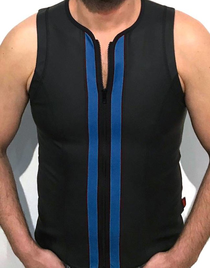 RoB F-Wear Vest with zip black with blue panels