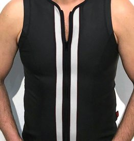 RoB F-Wear Weste mit Reissverschluss Schwarz mit Weiss
