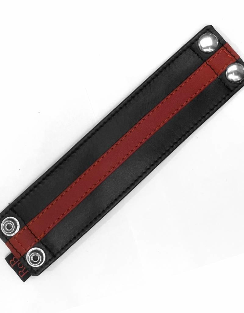 RoB Leren Polsband met geldvak en rode streep