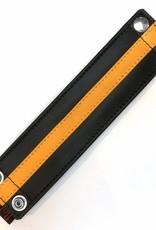 RoB Leren Polsband met geldvak en gele streep