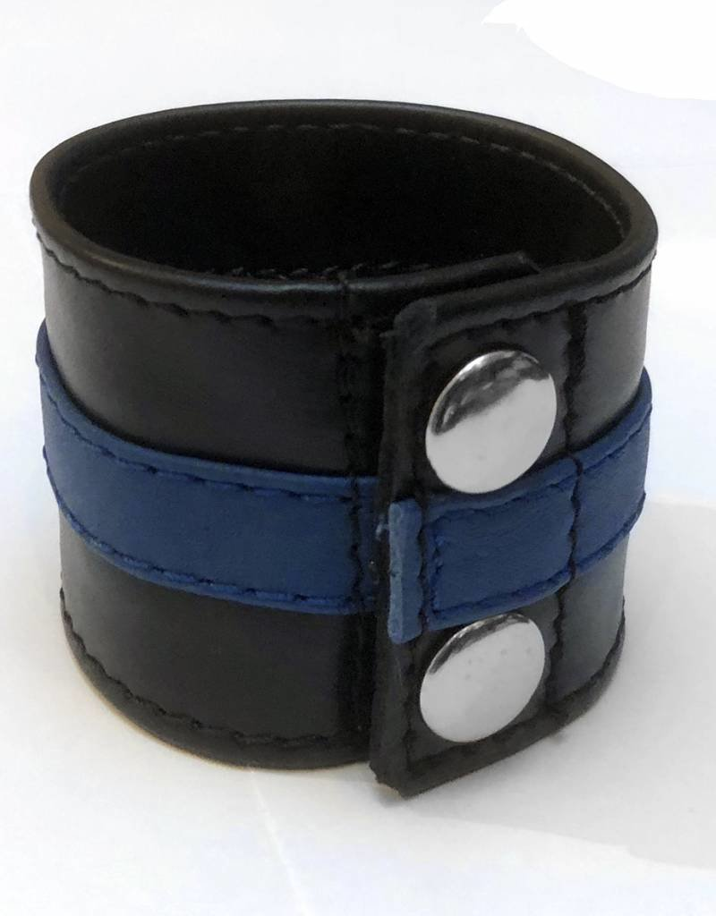 RoB Leren Polsband met geldvak en blauwe streep